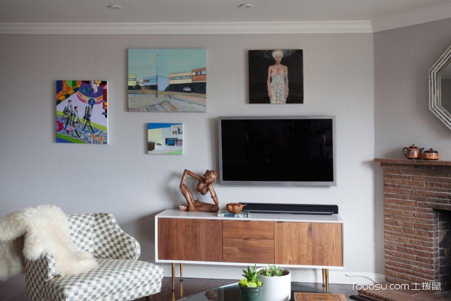 客厅黄色电视柜现代风格装修效果图