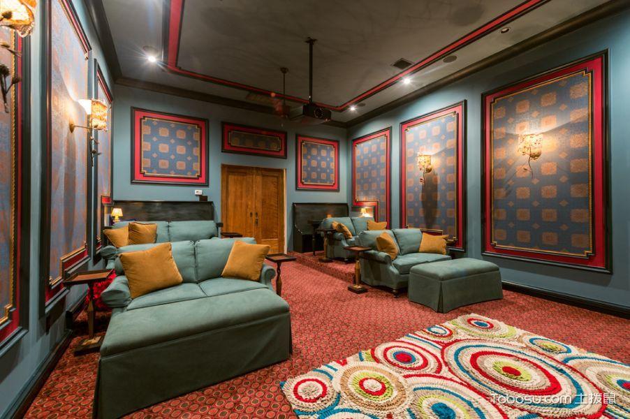 客厅绿色背景墙地中海风格效果图
