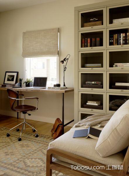 书房米色书桌现代风格效果图