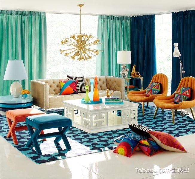 客厅蓝色窗帘现代风格装饰效果图
