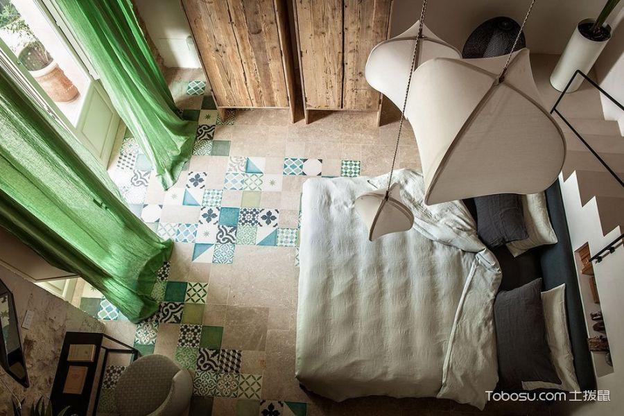卧室绿色窗帘地中海风格装修效果图