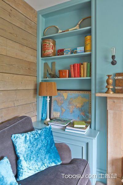客厅蓝色书桌混搭风格装潢效果图