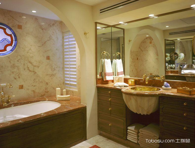 浴室黄色洗漱台地中海风格装饰效果图