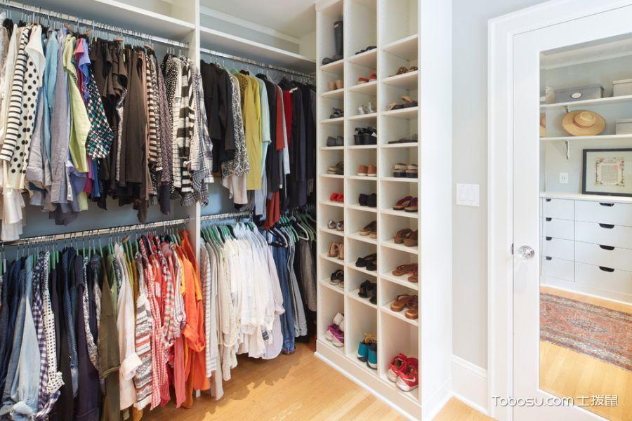 衣帽间白色鞋柜美式风格装饰效果图