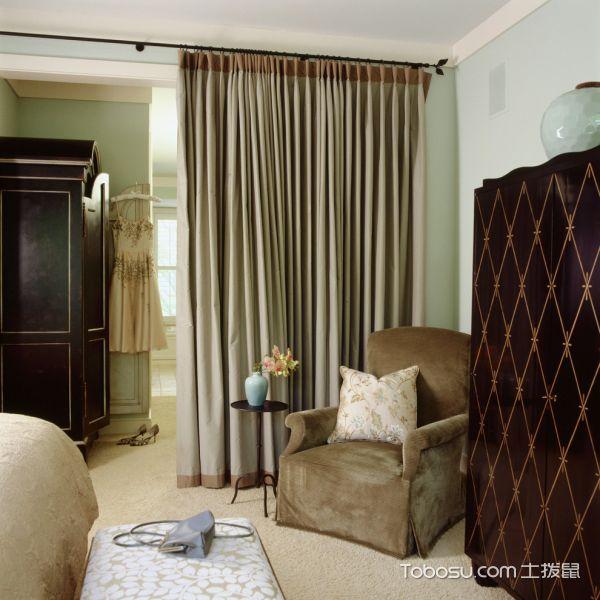 卧室咖啡色沙发美式风格装潢设计图片