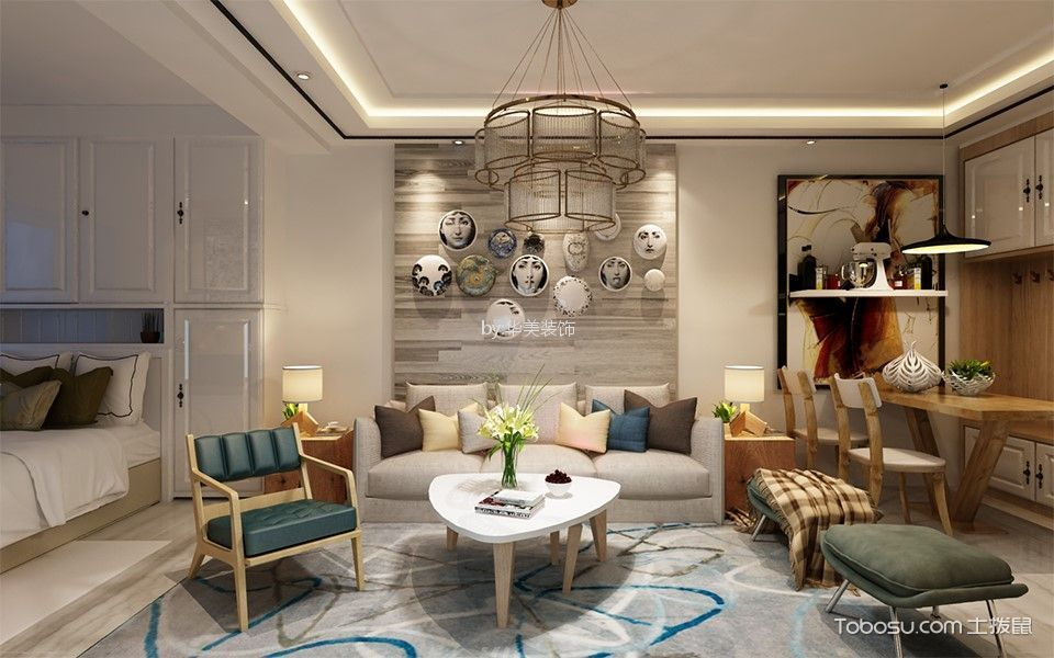 65平米混搭风格1室1厅1卫1厨装修效果图