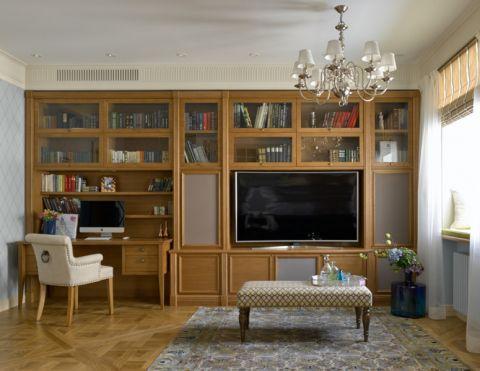 客厅书架美式风格装潢图片