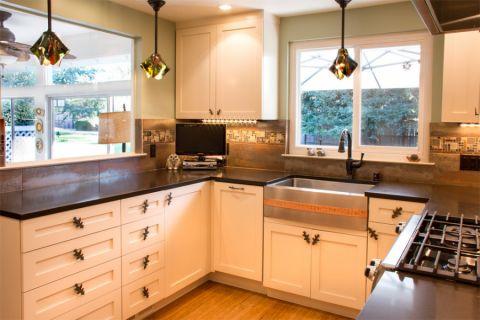 厨房混搭风格效果图大全2017图片_土拨鼠简洁自然厨房混搭风格装修设计效果图欣赏