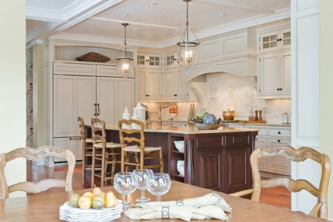 厨房美式风格效果图大全2017图片_土拨鼠古朴休闲厨房美式风格装修设计效果图欣赏