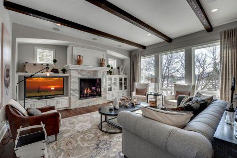 客厅美式风格效果图大全2017图片_土拨鼠美感个性客厅美式风格装修设计效果图欣赏