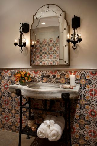 浴室背景墙地中海风格装潢效果图