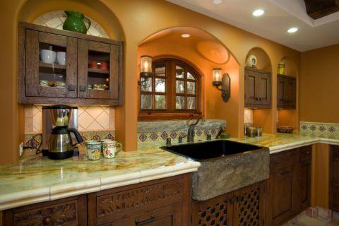 厨房背景墙地中海风格装修图片