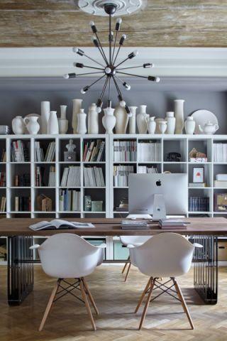 书房博古架美式风格装潢设计图片