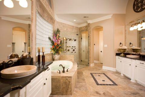 浴室背景墙地中海风格装潢图片