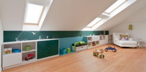 儿童房背景墙现代风格装修图片