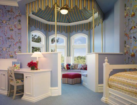 卧室书桌美式风格装修设计图片
