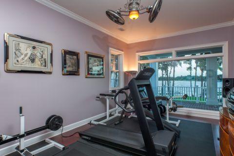 健身房背景墙美式风格装潢设计图片