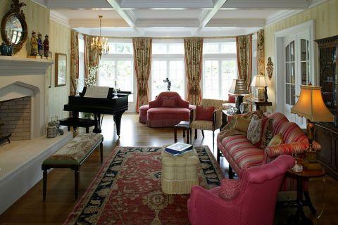 客厅美式风格效果图大全2017图片_土拨鼠潮流自然客厅美式风格装修设计效果图欣赏