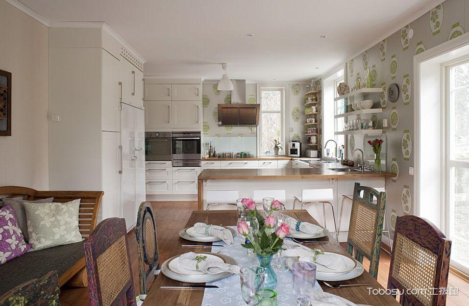 厨房白色隔断混搭风格装修效果图