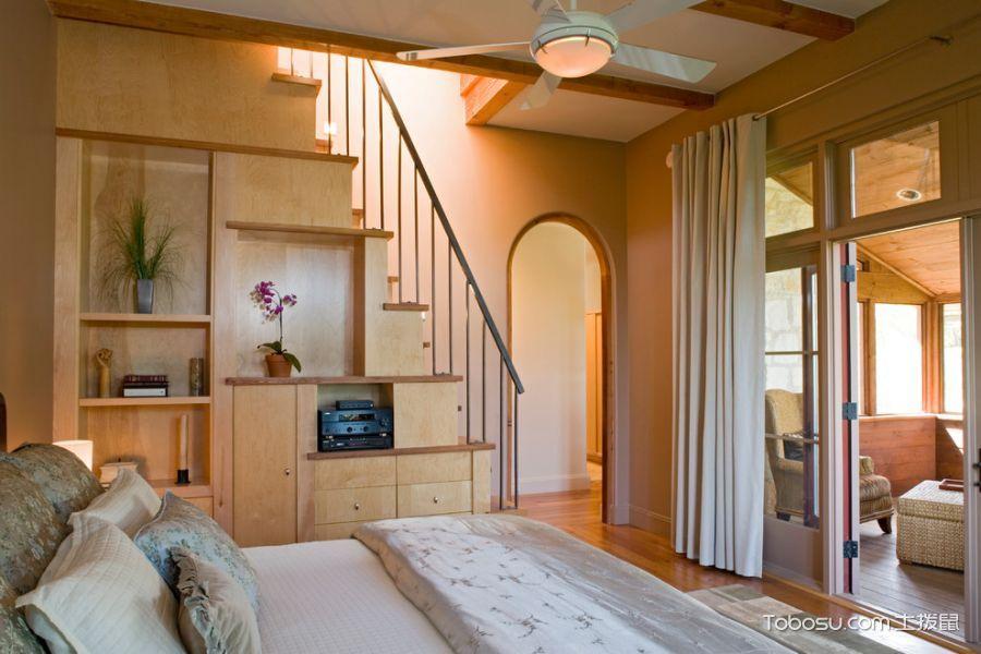 卧室米色窗帘地中海风格装修图片
