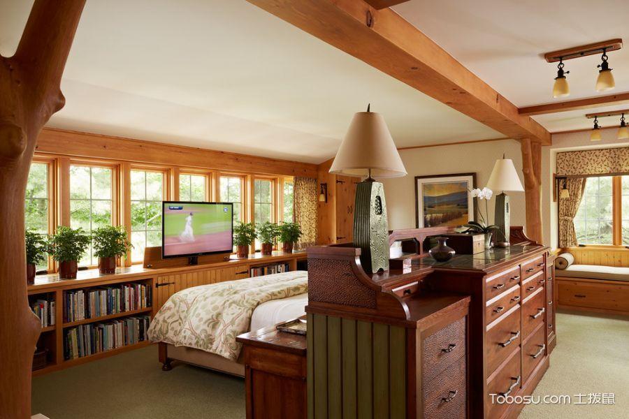 卧室咖啡色隔断美式风格装潢设计图片