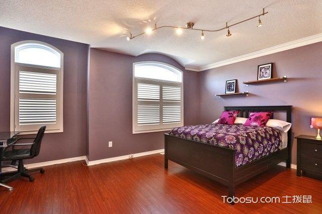 卧室紫色背景墙现代风格装饰效果图