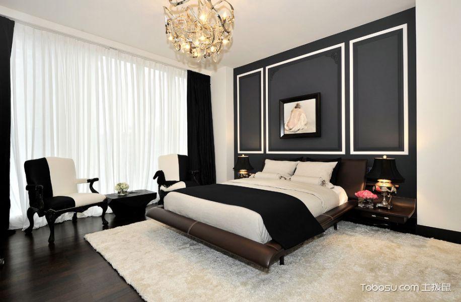 卧室黑色背景墙现代风格装饰效果图