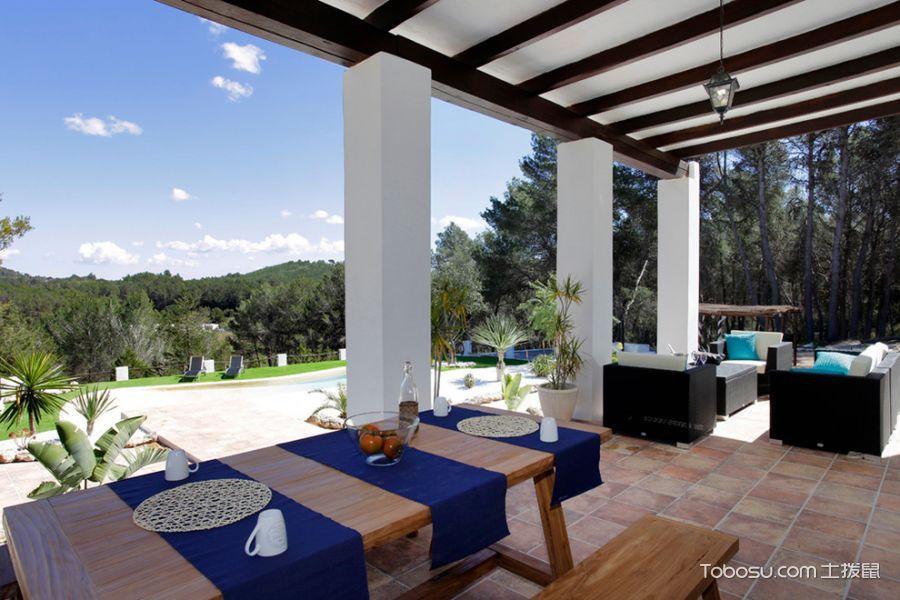 阳台黄色地砖地中海风格装潢设计图片