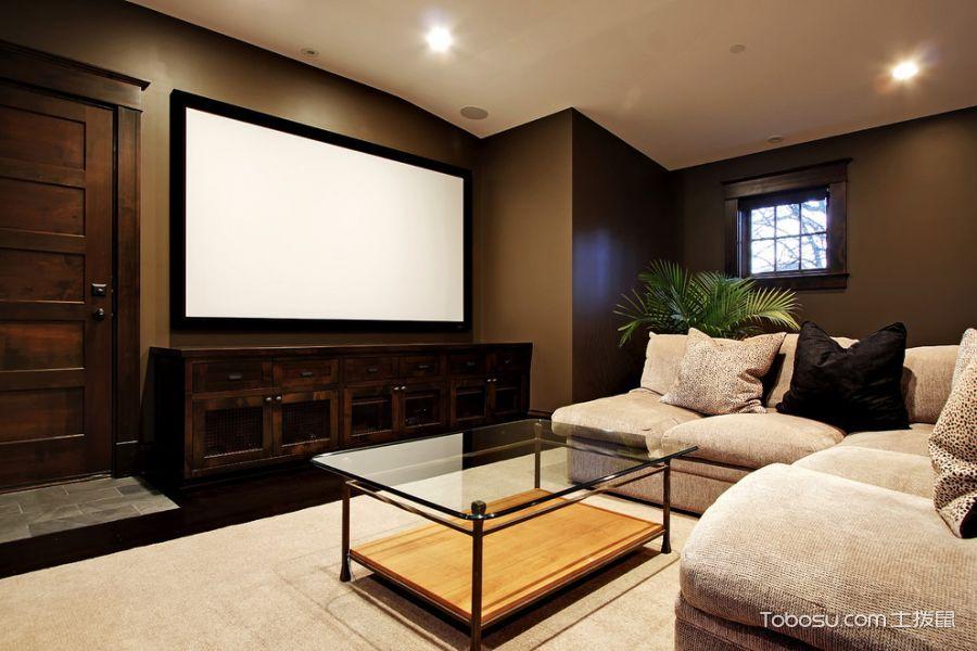 客厅咖啡色电视柜现代风格装修设计图片