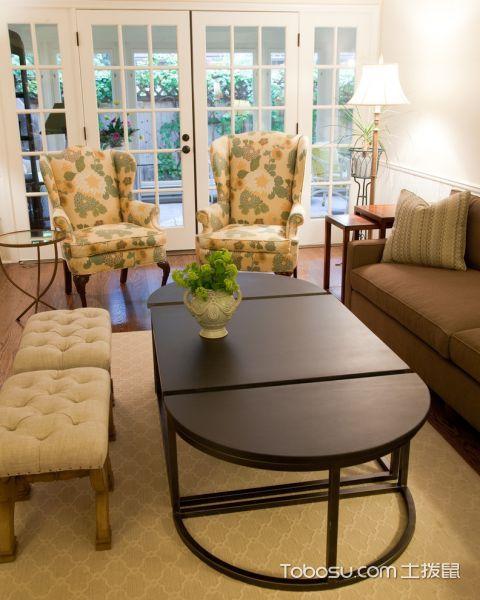 客厅推拉门美式风格装潢图片