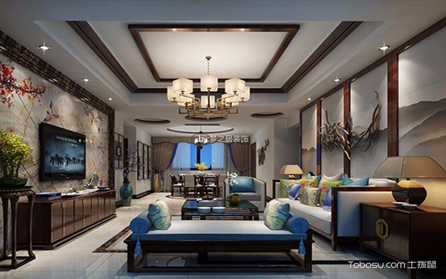 客厅 吊顶_艾湖家园4室130平新中式风格装修效果图