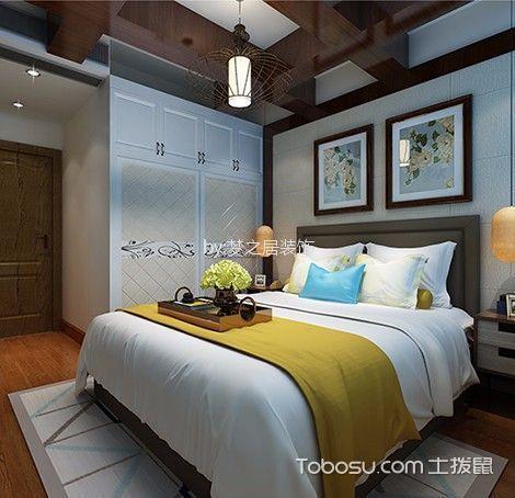 卧室 吊顶_艾湖家园4室130平新中式风格装修效果图