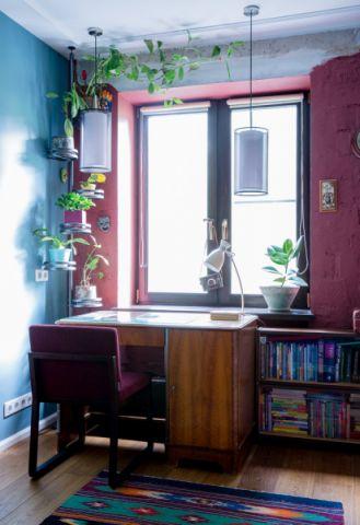 书房背景墙混搭风格装修设计图片