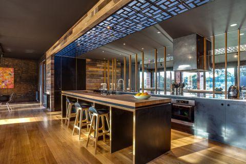 厨房现代风格效果图大全2017图片_土拨鼠古朴写意厨房现代风格装修设计效果图欣赏