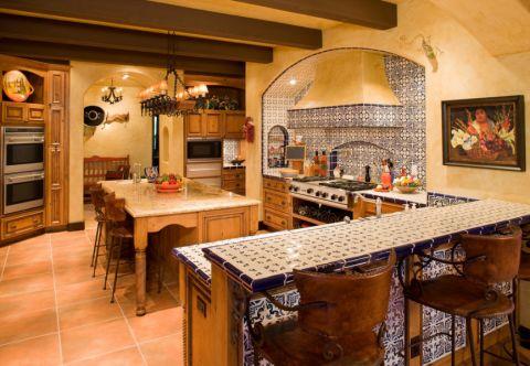 厨房吧台地中海风格装潢图片