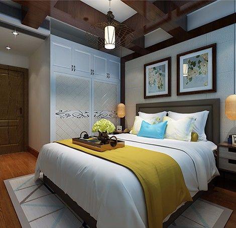 卧室红色吊顶新中式风格效果图