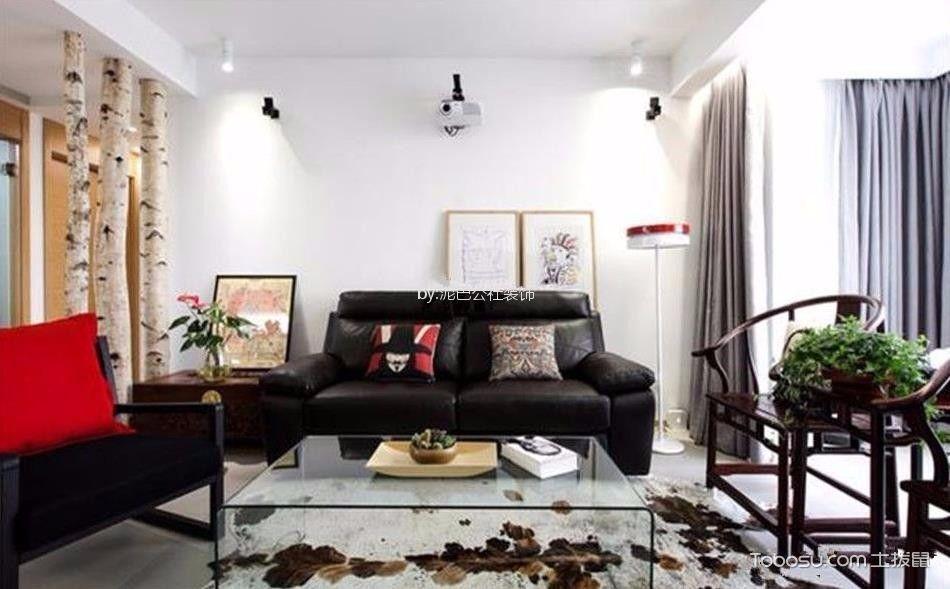 客厅黑色沙发混搭风格装潢图片