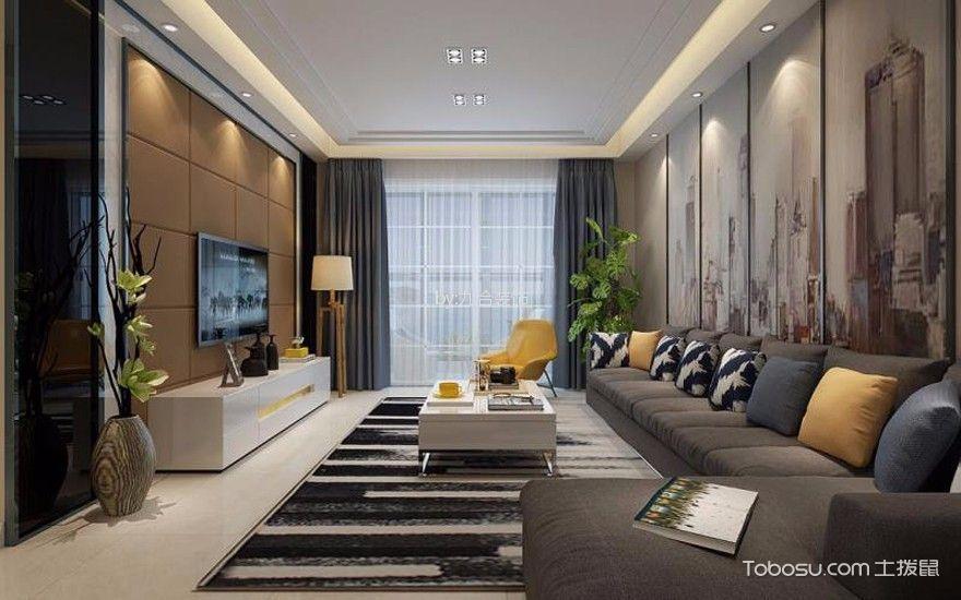 120m²现代风格三室两厅装修效果图