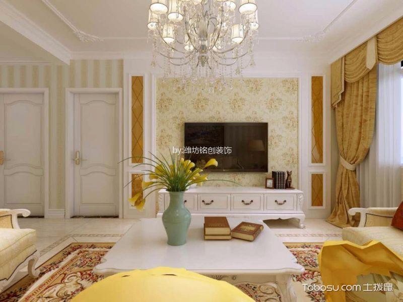 客厅 背景墙_润地凤凰城130平简欧风格三居室装修效果图