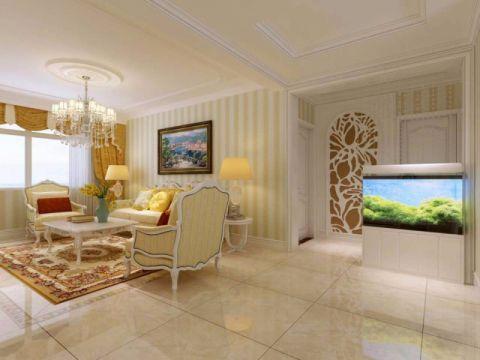 客厅白色吊顶简欧风格装饰图片