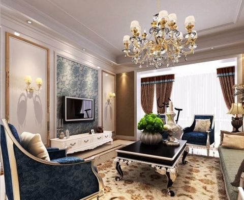 大有公馆160平欧式风格三居室装修效果图