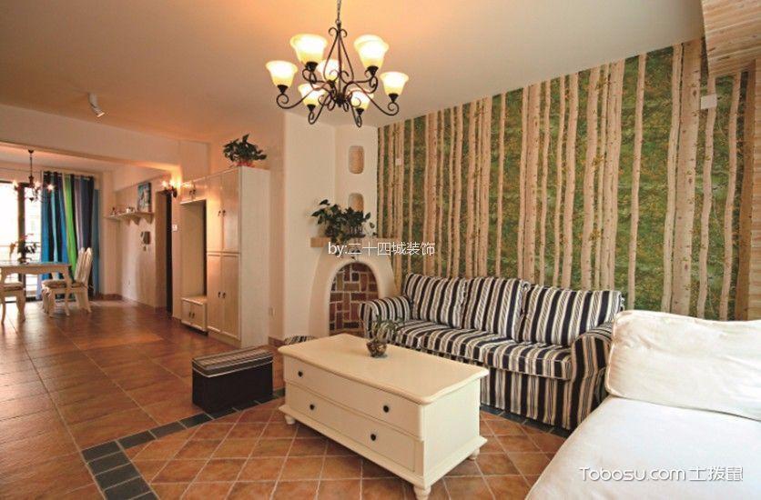 复地山与城田园风格110平三居室装修效果图