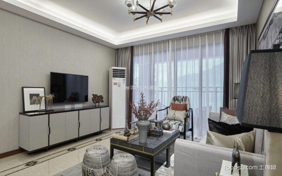 富力华庭93平米新中式三居室装修效果图