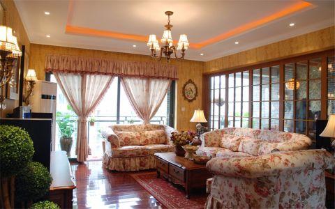 世茂外滩新城141平田园风格三室两厅两卫装修效果图