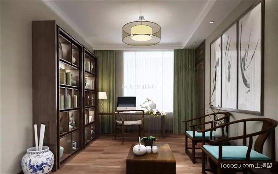 书房咖啡色地板砖新中式风格装潢设计图片