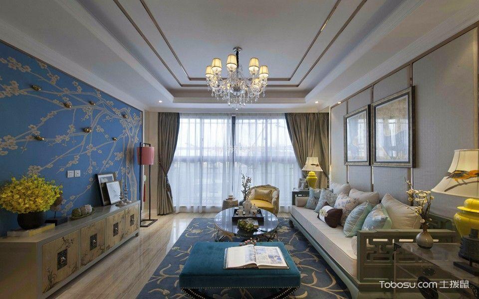 93平米新中式风格三居室装修效果图图片
