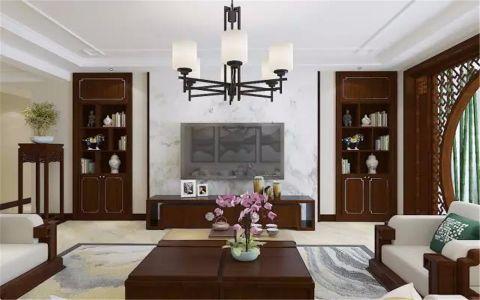 客厅白色背景墙新中式风格装潢图片