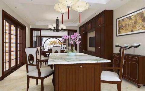 餐厅红色餐桌新中式风格装饰设计图片