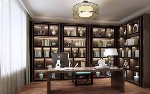 书房咖啡色书架新中式风格效果图