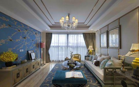 93平米新中式风格三居室装修效果图